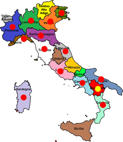 Cartina dell'Italia